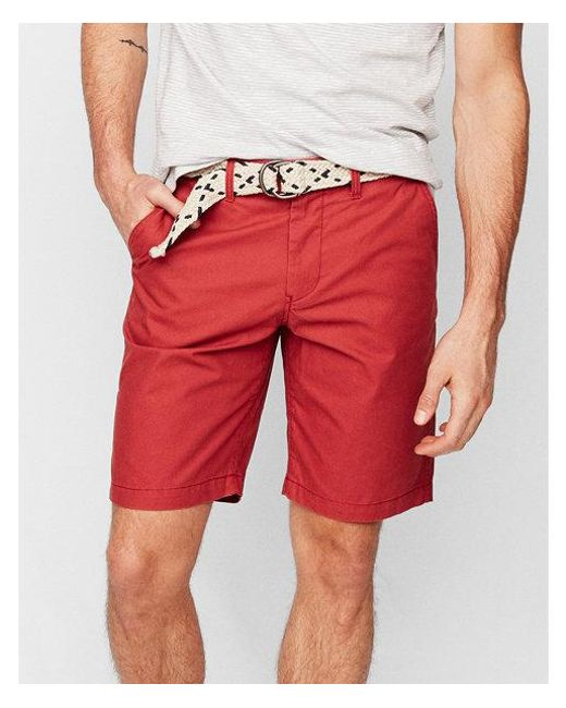 dc3dd7f8aa6f Express - Red Classic Fit 10 Inch Belted Flat Front Shorts for Men - Lyst