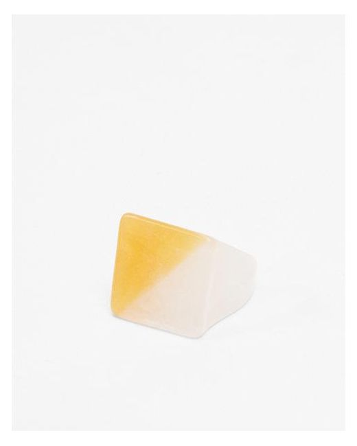 Express - Yellow Color Block Square Ring - Lyst