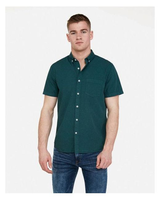21b28cefb3316 Express - Green Slim Garment Dyed Button-down Short Sleeve Shirt for Men -  Lyst