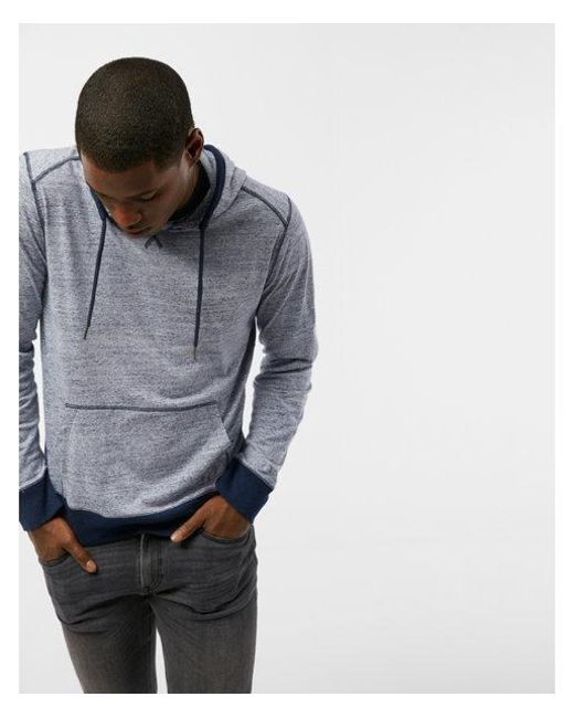 Express - Blue Heathered Long Sleeve Hoodie for Men - Lyst