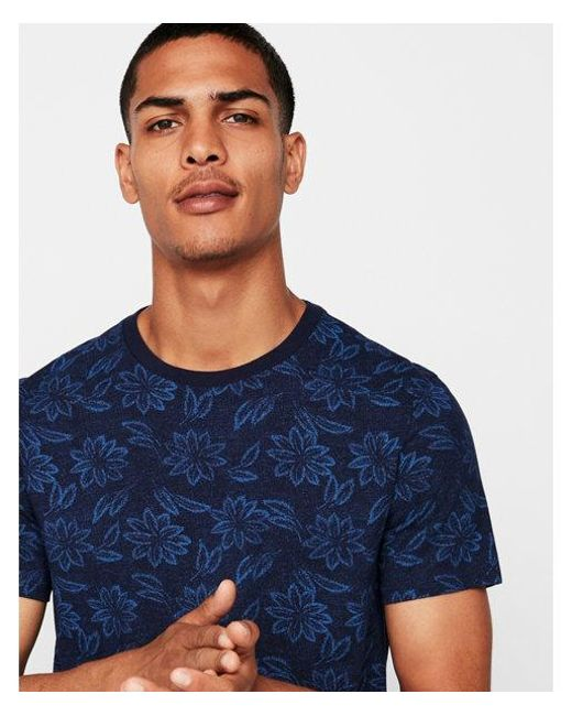 Express - Blue Ig & Tall Jersey Leaf Print Tee for Men - Lyst