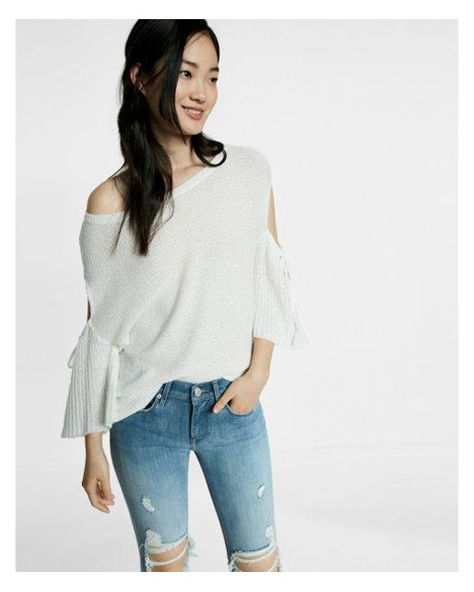 Express   White Drop Shoulder Cutout Flare Sleeve Pullover Sweater   Lyst