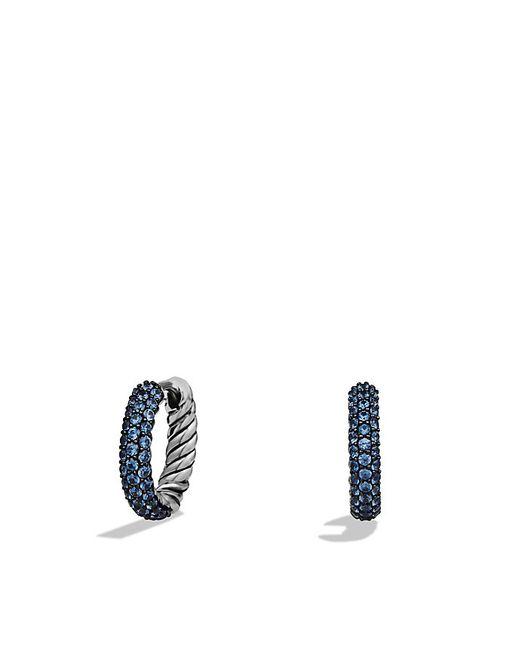 David Yurman   Petite Pavé Huggie Hoop Earrings With Blue Sapphires   Lyst
