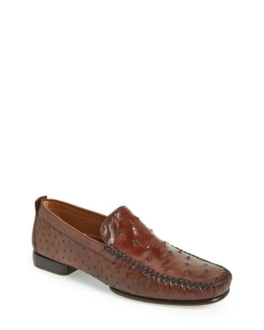 Mezlan | Brown 'rollini' Ostrich Leather Loafer for Men | Lyst