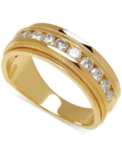 Macy's | Metallic Men's Diamond Milgrain Band (1 Ct. T.w.) In 14k Gold | Lyst