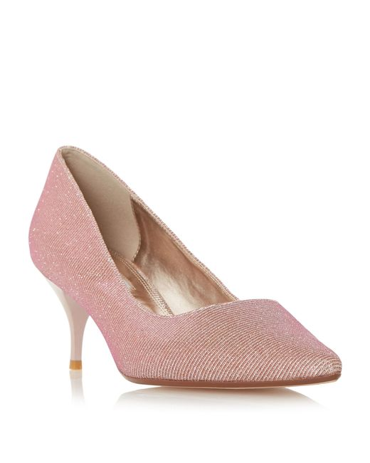 dune allera pointed toe mid heel court shoes in pink lyst
