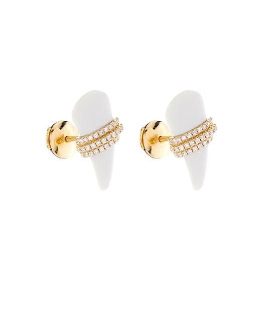 Elise Dray | Diamond, Agate & Yellow-Gold Earrings | Lyst