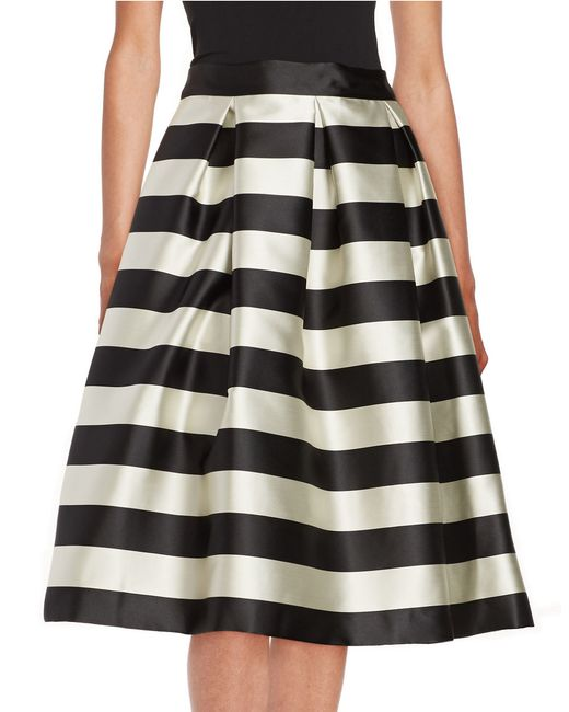 Eliza J Striped Skirt In Black Black Ivory Lyst