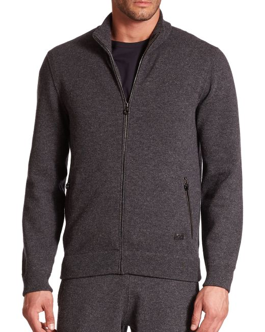 Ferragamo | Gray Full Zip Cashmere Sweater for Men | Lyst