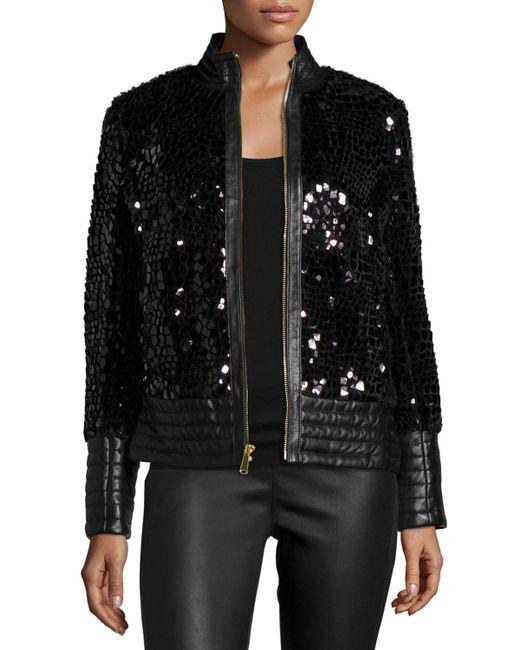 neiman marcus spangled faux fur jacket in black save 66. Black Bedroom Furniture Sets. Home Design Ideas