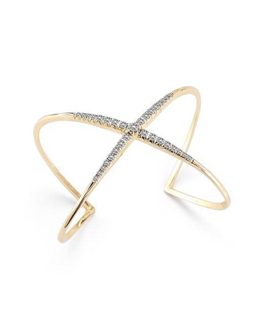 Elizabeth and James | Metallic Windrose Pave Crossover Cuff | Lyst