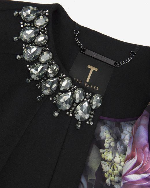 Ted Baker | Black Yonne Embellished Cape | Lyst