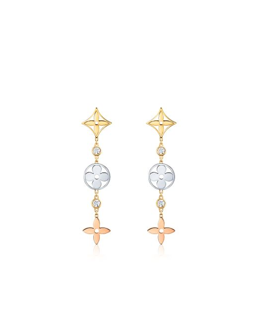 Louis Vuitton | White Idylle Blossom Long Earrings, 3 Golds And Diamonds | Lyst