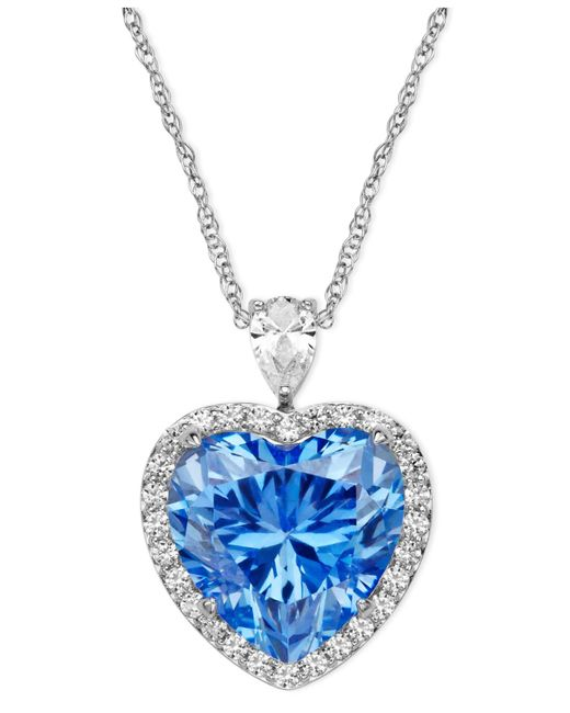 Arabella | Metallic Blue And White Swarovski Zirconia Heart Pendant (19-5/8 Ct. T.w.) | Lyst