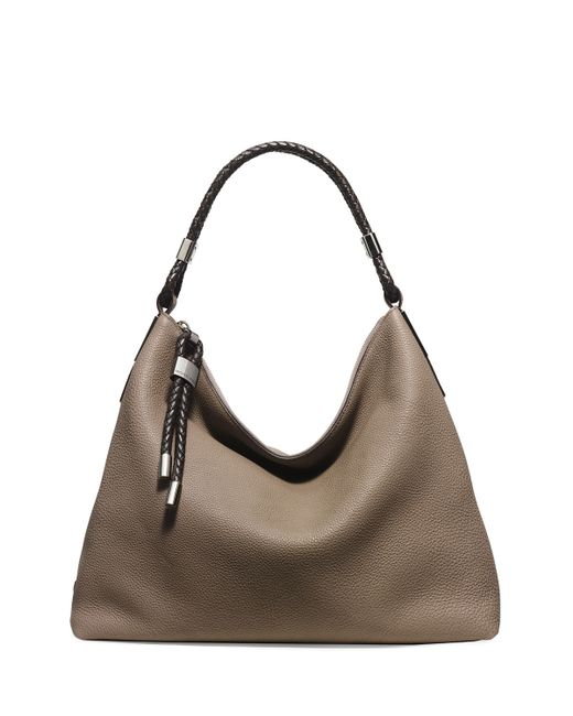 michael kors skorpios woven trim hobo bag in brown dark taupe lyst. Black Bedroom Furniture Sets. Home Design Ideas