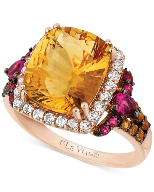 Le Vian | Pink ® Citrine (4-1/3 Ct. T.w.) White Topaz(3/8 Ct. T.w.) And Rhodolite Garnet (3/8 Ct. T.w.) Ring In 14k Rose Gold | Lyst