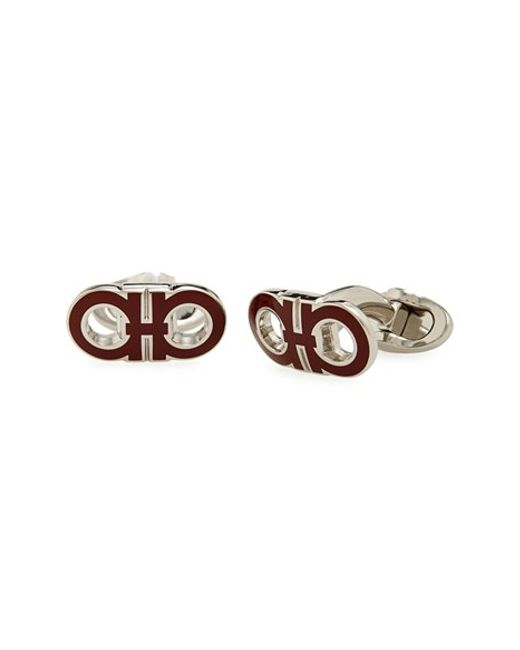 Ferragamo | Metallic Enameled Double Gancio Cuff Links for Men | Lyst