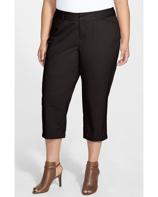 Sejour | Black 'addison' Stretch Crop Pants (plus Size) | Lyst