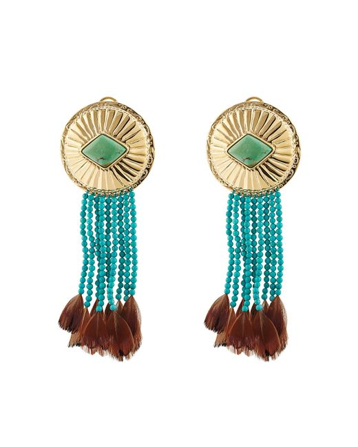 Aurelie Bidermann | Blue Turquoise and Pheasant Feathers Earrings | Lyst