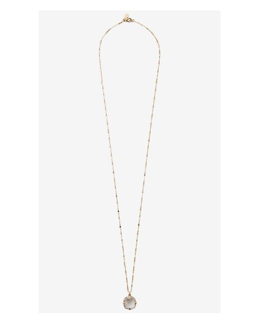 Express | Metallic Faceted Square Stone Pendant Necklace | Lyst