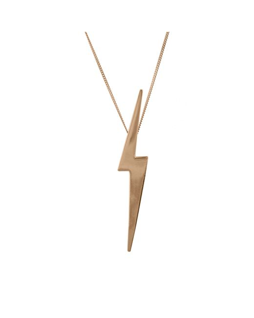 Edge Only | Metallic Skinny Lightning Bolt Pendant Gold | Lyst
