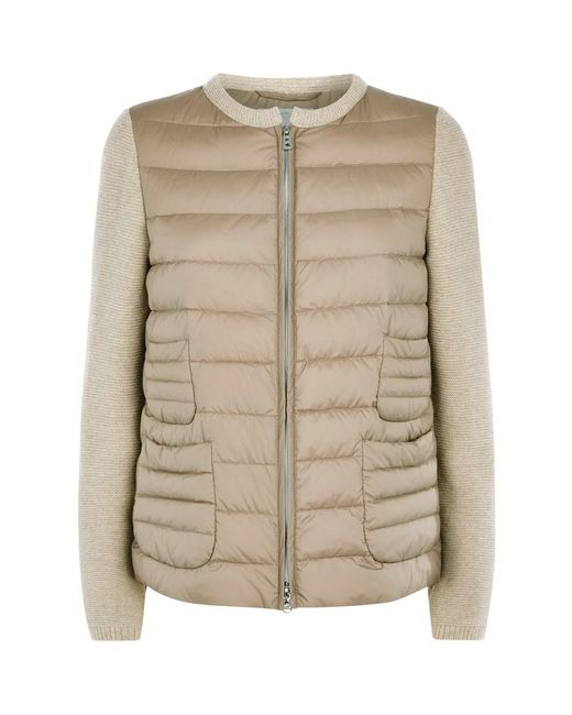Knitting Pattern Bomber Jacket : Bogner Leanne-d Knitted Sleeve Bomber Jacket in Beige Lyst