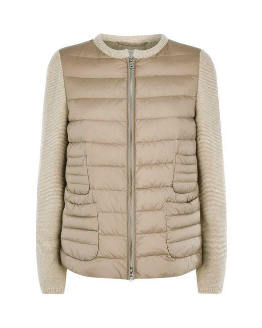Bogner Leanne-d Knitted Sleeve Bomber Jacket in Beige Lyst
