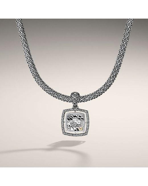 John Hardy | Metallic Medium Square Pendant On Chain Necklace | Lyst