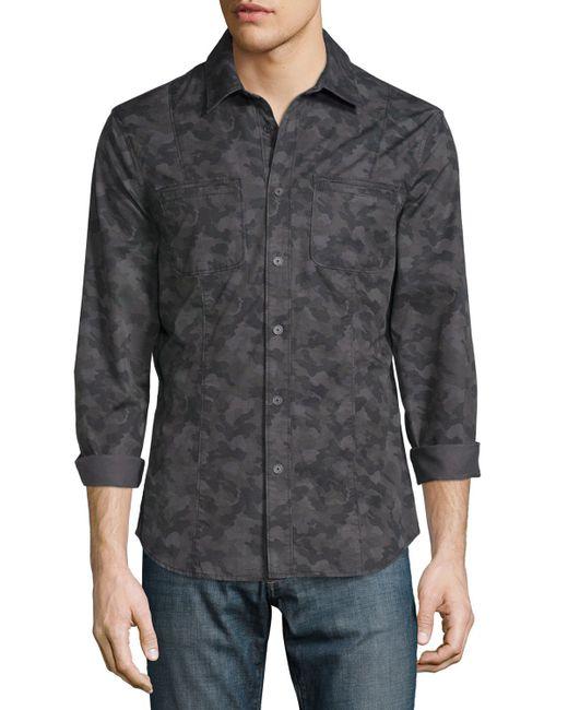 John Varvatos Camo Print Button Down Shirt Jacket In Black