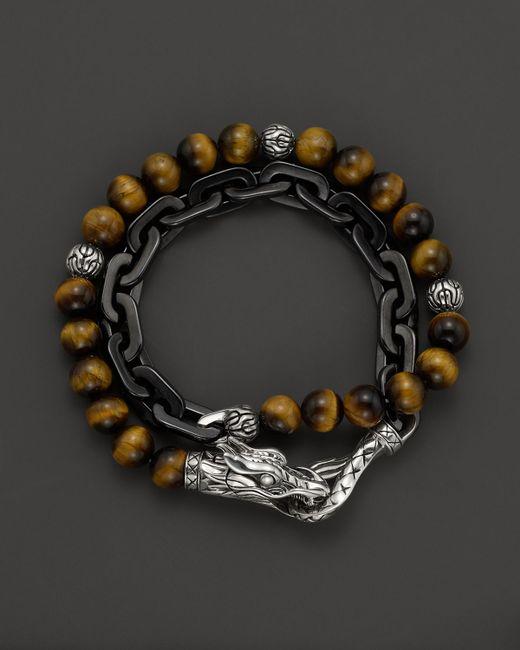 John Hardy Men S Naga Double Wrap Link Bracelet With Tiger