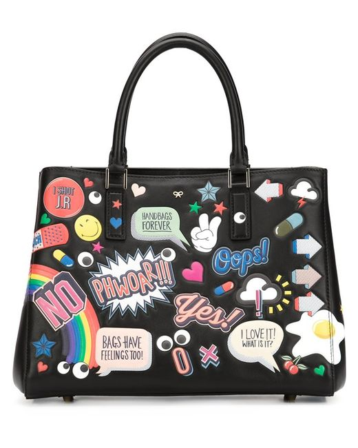 anya hindmarch stickers small featherweight ebury bag black in multicolor save 59 lyst. Black Bedroom Furniture Sets. Home Design Ideas
