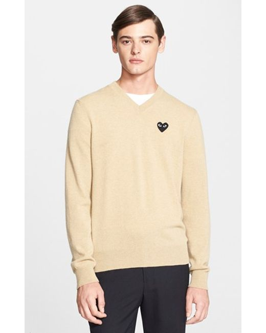 Comme des Garçons | Natural Play Wool V-neck Sweater With Heart Applique for Men | Lyst