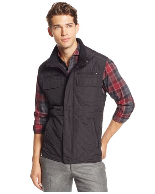 Vince Camuto Men S Quilted Zip Front Vest In Black For Men