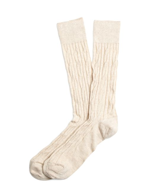 Brooks Brothers | Natural Cable Crew Socks for Men | Lyst
