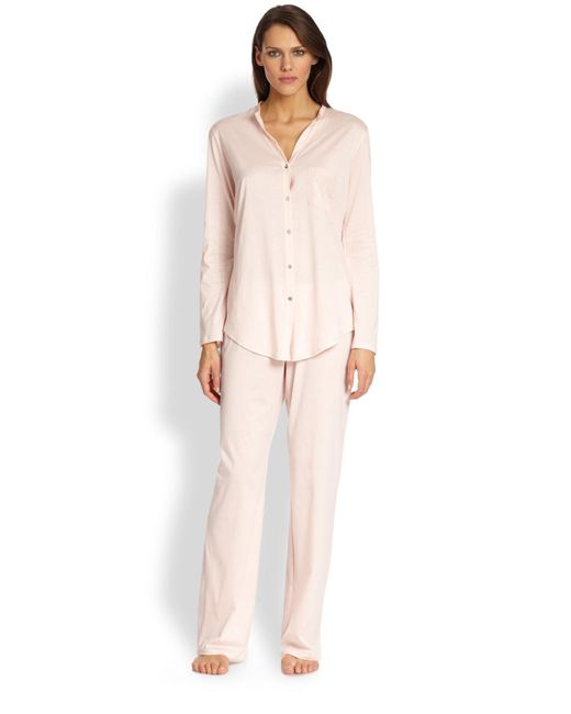 Hanro | Pink Long Sleeve Button-front Pajamas | Lyst