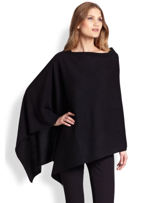 Saks Fifth Avenue | Black Cashmere Poncho | Lyst