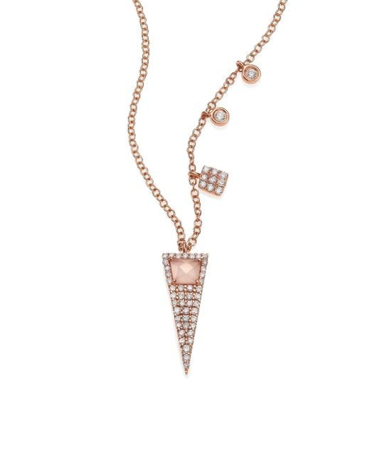 Meira T | Pink Rose Quartz, Mother-of-pearl, Diamond & 14k Rose Gold Triangle Pendant Necklace | Lyst