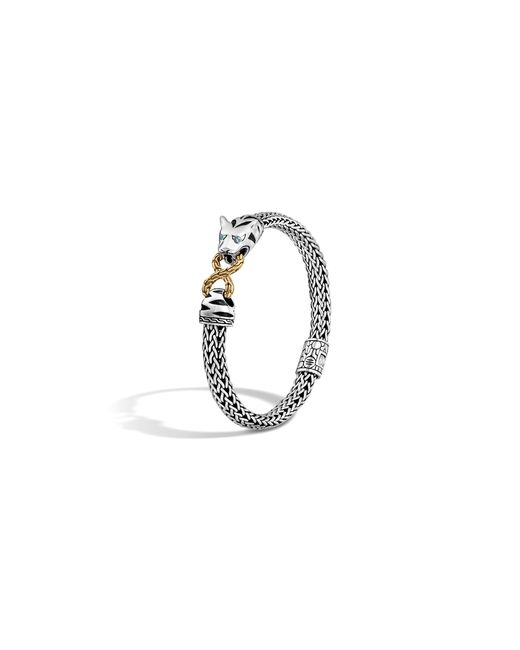 John Hardy | Sterling Silver & 18k Gold Classic Chain Small Macan Bracelet With Swiss Blue Topaz Eyes | Lyst