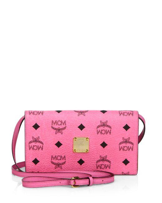 MCM | Pink Color Visetos Coated Canvas Crossbody Wallet | Lyst