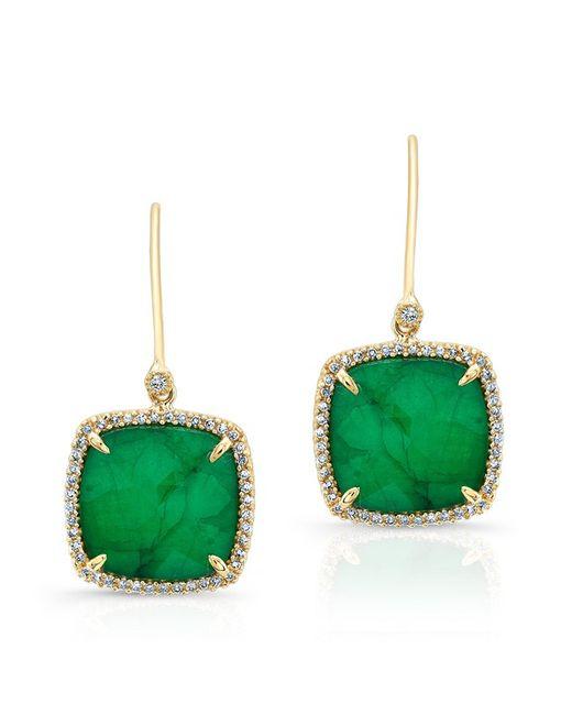 Anne Sisteron - 14kt Yellow Gold Emerald Diamond Small Cushion Cut Earrings - Lyst