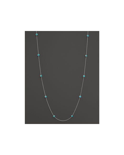 Ippolita | Blue Sterling Silver Rock Candy Long Stone Station Necklace In Turquoise, 48"