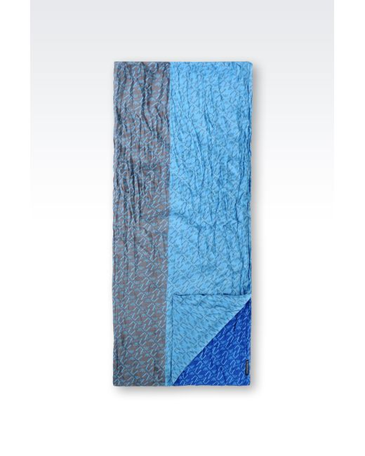 Armani Jeans | Blue Scarf In Logo Patterned Viscose | Lyst