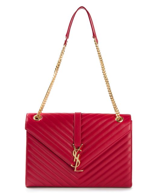 Saint laurent Monogramme Large Quilted Leather Shoulder Bag in Red ...