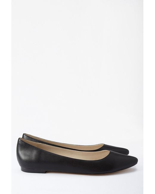 Forever 21   Black Faux Leather Pointed Flats   Lyst