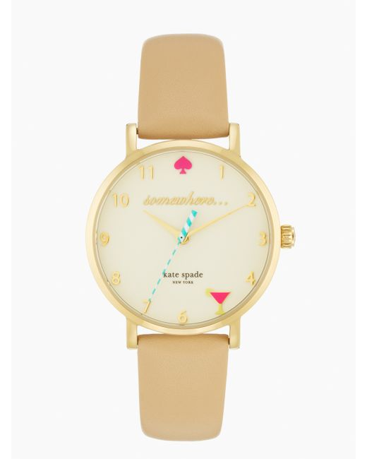 kate spade new york | Natural Time Flies Metro Watch | Lyst