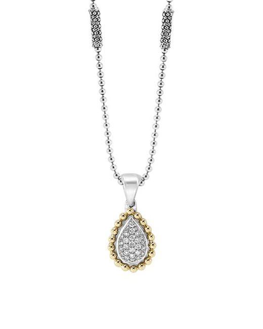 Lagos Diamond Caviar Pendant Necklace In Silver Silver