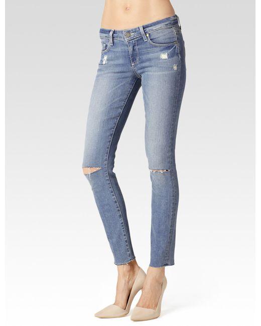 PAIGE | Blue Skyline Ankle Peg Jeans | Lyst