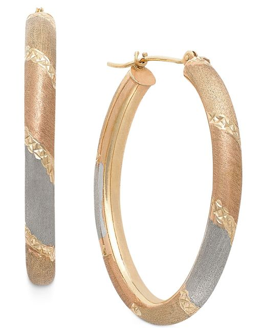 Macy's | Metallic Tri-tone Satin And Diamond Cut Oval Hoops In 14k Gold | Lyst