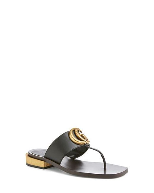 Gucci Marmont Flat Sandals In Black Black Leather Lyst