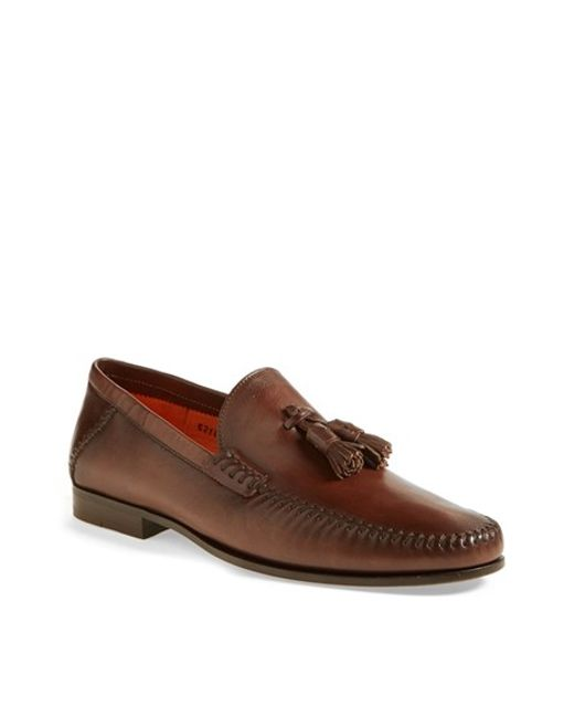 Santoni | Brown 'warner' Tassel Loafer for Men | Lyst